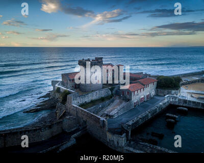 Aerial panorama of Socoa fort guarding the entrance of the Saint Jean de Luz bay, popular beach and resort on the Atlantic ocean - Stock Photo