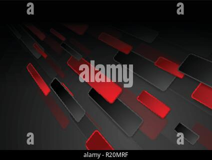 Black and red hi-tech abstract background. Geometric vector design - Stock Photo