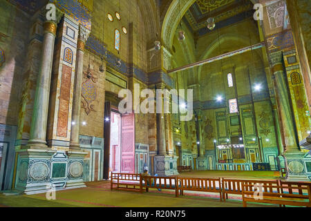 CAIRO, EGYPT - DECEMBER 21, 2017: The beautiful decorations of walls in Al-Rifai' (Royal) Mosque with stone, mosaic, carvings and painted details, on  - Stock Photo