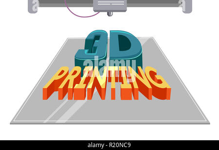 Typography Illustration Featuring a 3 D Printing Machine Printing a Block of Text - Stock Photo