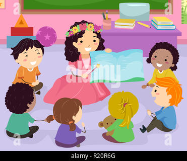 Illustration of Stickman Kids Listening to their Teaching Wearing a Fairy Costume While Reading a Story Book in Class - Stock Photo