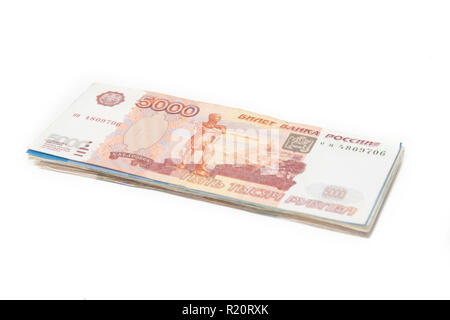 Russian money on a white background. Business and Finance. Russian paper money - Stock Photo