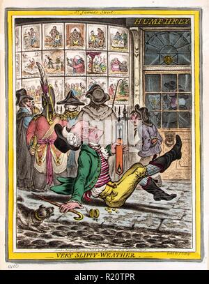 Hand-coloured etching depicts an elderly man who has slipped and fallen on the sidewalk outside Humphrey's printing establishment at No. 27 St. James's Street, London. He is holding a thermometer which he manages keep upright, behind him are five individuals looking at caricatures printed by Humphrey that are on display in the shop windows. Created by James Gillray (1756-1815) British caricaturist and printmaker famous for his etched political and social satires. Dated 1808 - Stock Photo