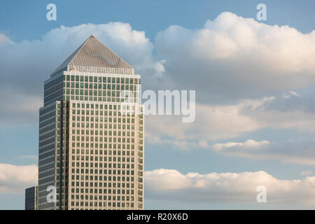 Aerial view of Canary Wharf, London, England, UK - Stock Photo