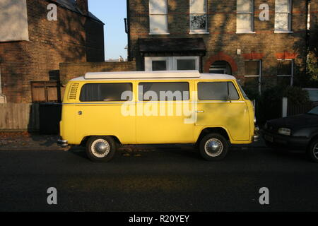 Yellow VW camper van - Stock Photo