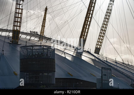 People taking the walk over the O2 Arena in Greenwich. From the Open City Thames Architecture Tour East. Photo date: Saturday, November 10, 2018. Phot - Stock Photo