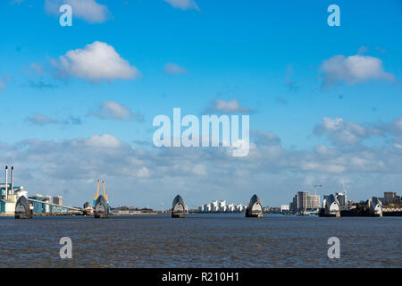 The Thames Barrier. From the Open City Thames Architecture Tour East. Photo date: Saturday, November 10, 2018. Photo: Roger Garfield/Alamy - Stock Photo