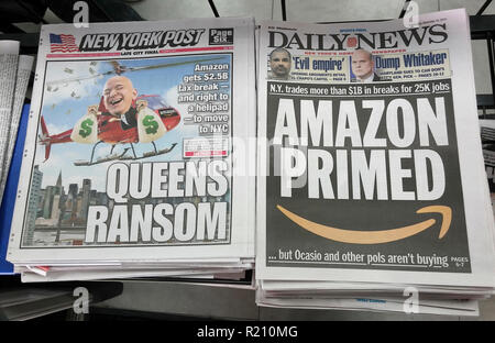Headlines of New York newspapers report on Wednesday, November 14, 2018 about the decision by Amazon to place half of its HQ2 in the Long Island City neighborhood in New York. (© Richard B. Levine) - Stock Photo