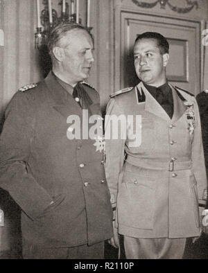 Ribbentrop, left, and Count Ciano, right.  Ulrich Friedrich Wilhelm Joachim von Ribbentrop, 1893 – 1946, aka Joachim von Ribbentrop. Foreign Minister of Nazi Germany, 1938 - 1945.  Gian Galeazzo Ciano, 2nd Count of Cortellazzo and Buccari, 1903 – 1944. Foreign Minister of Fascist Italy, 1936 - 1943 and Benito Mussolini's son-in-law.  From L'Illustration, published 1939. - Stock Photo