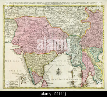 Map of India and Southern Asia dating from 1792 - Stock Photo