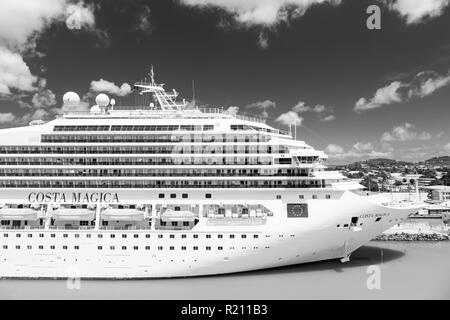 St Johns, Antigua - March 05, 2016: cruise ship Costa Magica docked in sea port. Vacation, travel, wanderlust luxury - Stock Photo