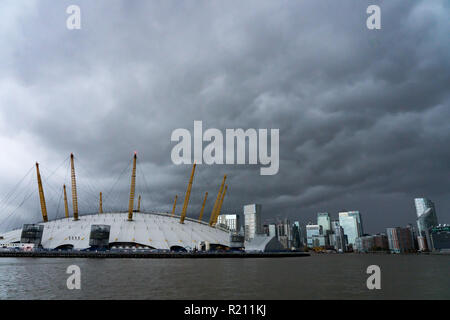 The O2 Arena. From the Open City Thames Architecture Tour East. Photo date: Saturday, November 10, 2018. Photo: Roger Garfield/Alamy - Stock Photo