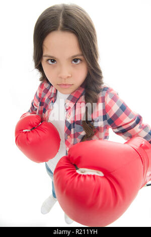 That is what I think. Girls power. Every kid should know how defend own point of view. Girl seriously defending her opinion. Child serious face with gloves practice boxing skills isolated white. - Stock Photo
