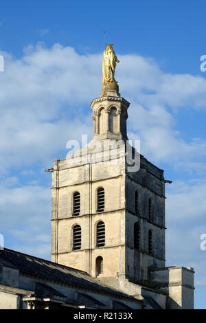 Bell Tower of Notre Dame des Doms Church or Cathedral (c12th), with Gilded Statue of the Virgin Mary, Avignon Vaucluse Provence France - Stock Photo