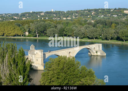 Aerial View or High-Angle View over Pont Saint-Bénézet or Pont d'Avignon, the Landmark Bridge Spanning the River Rhone in Avignon  Provence France - Stock Photo
