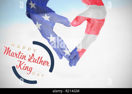 Composite image of usa flag painted on hands making heart shape - Stock Photo