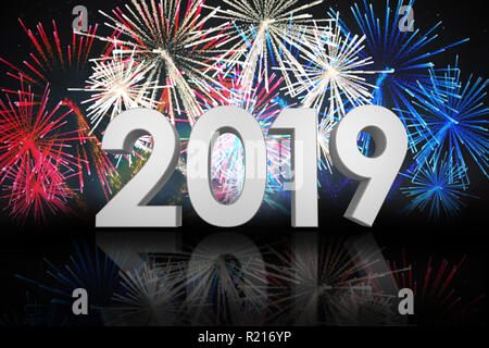 Composite image of digital image of three dimensional new year numbers - Stock Photo