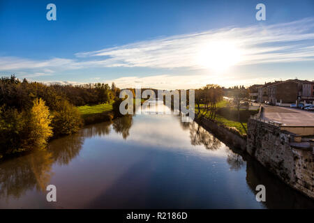 Aude river seen from the new bridge, Carcassonne city, Languedoc-Roussillon, Aude, Occitanie, France - Stock Photo
