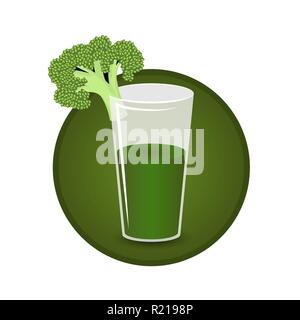 Glass of broccoli juice fresh and healthy vegeterian diet  for print and web decoration icon , cartoon illustration . - Stock Photo