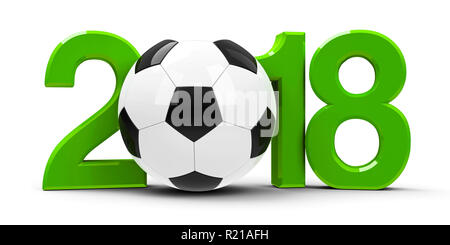 Green 2018 with football isolated on white background, represents World Cup 2018 - Russia football championship, three-dimensional rendering, 3D illus - Stock Photo