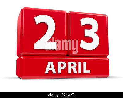 Red cubes - The Twenty Third of April - on a white table - World Book and Copyright Day, and English Day, three-dimensional rendering, 3D illustration - Stock Photo
