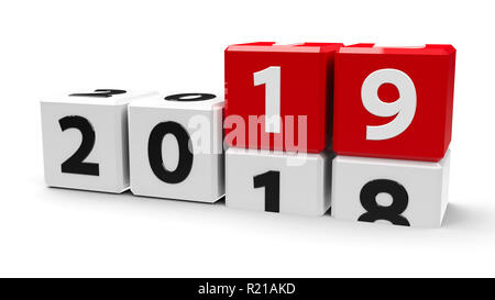White cubes with 2018-2019 change on a white table represents the new 2019 year, three-dimensional rendering, 3D illustration - Stock Photo
