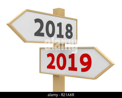 Road sign with 2018-2019 change on white background represents the new 2019 year, three-dimensional rendering, 3D illustration - Stock Photo