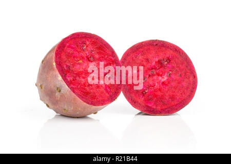 Group of two halves of red fresh bright prickly pear opuntia isolated on white background - Stock Photo