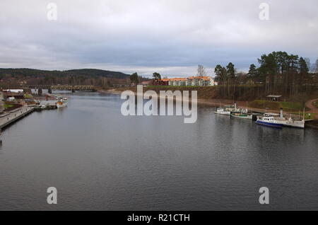 The small town of Leksand in Dalarna,Sweden on a grey autumn day.15.11.2018 - Stock Photo