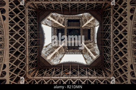 Graphic image of the Eiffel Tower seen from below, Paris, France - Stock Photo