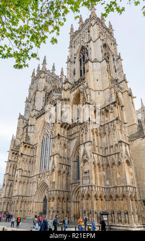 The West face of York Minster (York Cathedral), York, North Yorkshire, England UK - Stock Photo