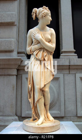 A classical marble statue of a woman in the Metropolitan Museum of Art in New York. - Stock Photo