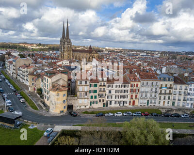Aerial panorama of Bayonne France in Basque Country with a Gothic cathedral, medieval colorful houses and bridges, city walls and fortress by Vauban - Stock Photo