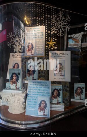 A display of books in the window of Waterstones in Piccadilly, for the eagerly-anticipated bestselling title, 'Becoming' by the former First Lady of the United States, Michelle Obama, before her publicity tour of the UK, on 13th November 2018, in London, England. - Stock Photo
