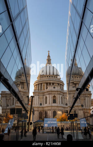 England ,London, Saint Pauls Cathedral fom One New Change  High-end Shopping complex at night - Stock Photo