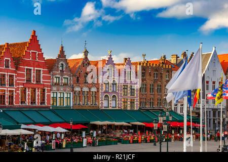 Old Market square in Bruges, Belgium - Stock Photo