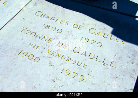 Former president of France Charles De Gaulle's grave at the church at Colombey-les-Deux-Eglises, Haute-Marne, France. - Stock Photo