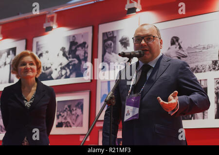 St. Petersburg, Russia - November 15, 2018: Sergey Mikhailov, general director of ITAR-TASS (center), and Olga Golodets, Deputy Prime Minister of Russ - Stock Photo