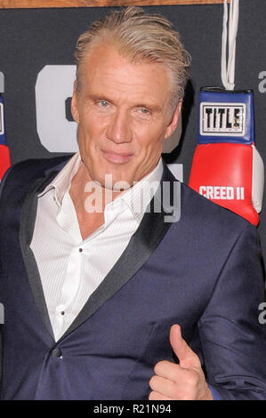 NEW YORK, NY - NOVEMBER 14: Dolph Lundgren and Greta Lundgren attend 'Creed II' World Premiere at AMC Loews Lincoln Square on November 14, 2018 in New - Stock Photo