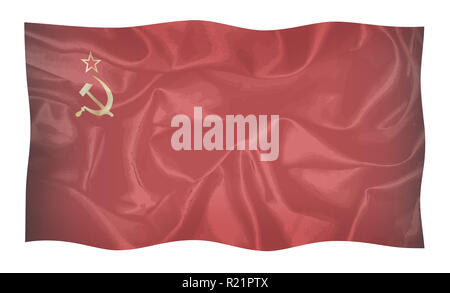 Hammer and Sickle set on a USSR silk flag faded with reds and black waving in the breeze - Stock Photo
