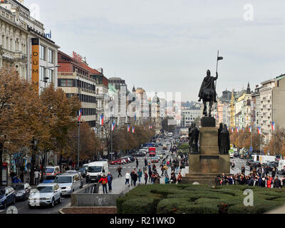 Prague, Czech Republic - October 30, 2017 Tourist group in Wenceslas Square in front of the national Museum. - Stock Photo