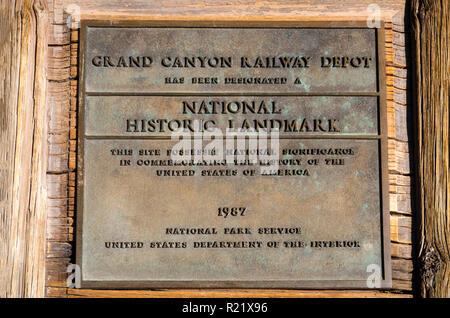 Grand Canyon Railway Depot, Grand Canyon National Park, Arizona USA - Stock Photo