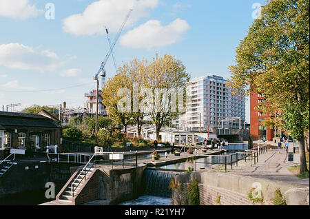 St Pancras Lock on the Regents Canal at the newly developed Gasholder Park, King's Cross, London UK - Stock Photo