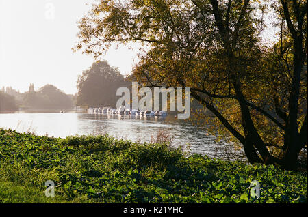 The River Thames between Richmond and Twickenham, South West London, late afternoon, on a sunny October day - Stock Photo