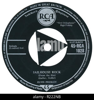 UK 45 rpm 7' single of Jailhouse Rock by Elvis Presley on the RCA label from 1958. Written and produced by Jerry Leiber and Mike Stoller. - Stock Photo