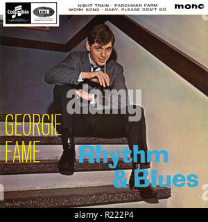 UK 45 rpm 7' EP by Georgie Fame titled Rhythm & Blues on the Columbia label from 1964. Produced by Ian Samwell, recorded live at The Flamingo, a club in Wardour Street, London. - Stock Photo