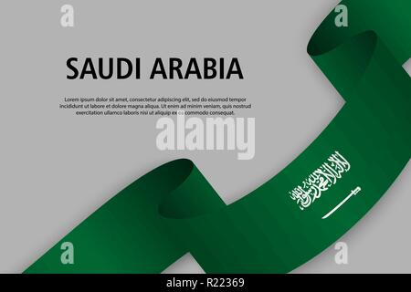 Waving ribbon with Flag of Saudi Arabia, Template for Independence day banner. vector illustration - Stock Photo