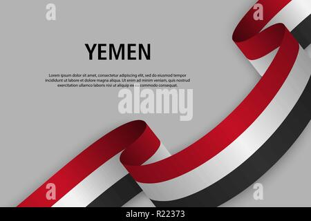 Waving ribbon with Flag of Yemen, Template for Independence day banner. vector illustration - Stock Photo