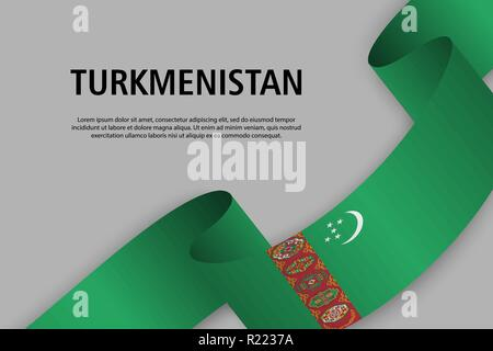 Waving ribbon with Flag of Turkmenistan, Template for Independence day banner. vector illustration - Stock Photo