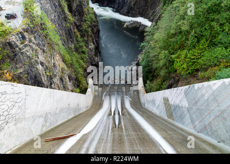 Looking down Cleveland Dam and the Capilano River in North Vancouver, Canada.